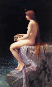 Pandora, by  Jules Joseph Lefebvre. Oil on canvas, 1882. Wikimedia Commons.