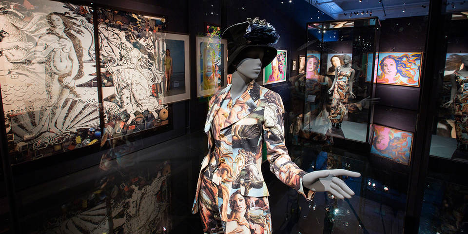 The exhibition space at the V&A, with Dolce & Gabbana's trouser suit.