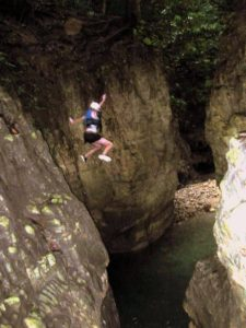 After hiking up a series of waterfalls, the only way down was to jump! 27 Charcos in Puerto Plata, Dominican Republic.