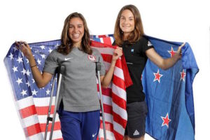 Nikki Hamblin and Abbey D'Agostino. Photo by Chris Graythen/Getty Images.