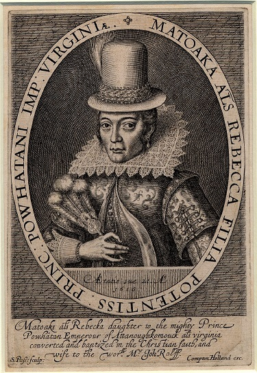 Portrait of Pocahontas from 1616