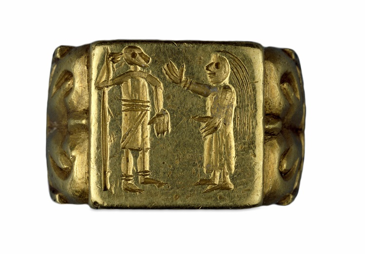Merovingian ring featuring a man and woman