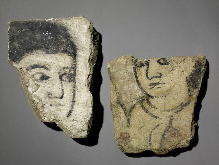 Two fragments showing harem girls