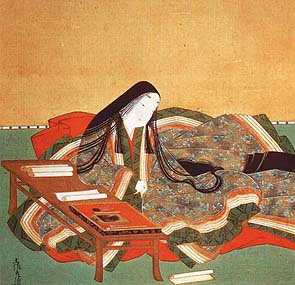 Scene from the Tale of Genji, featuring a woman at a table.