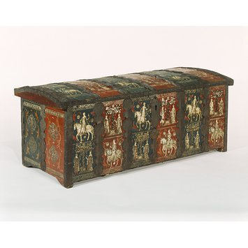 Cassone chest decorated in red and blue panels