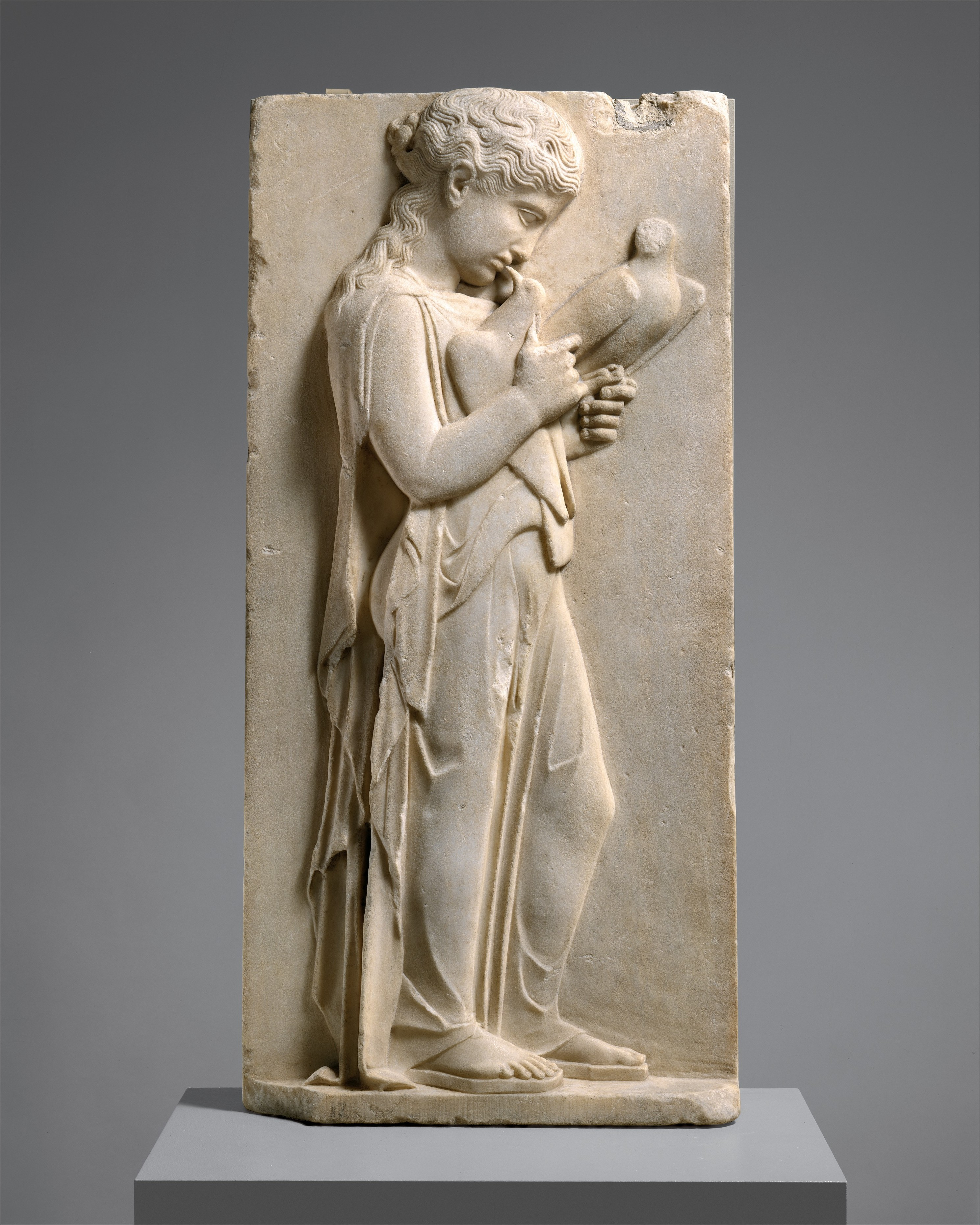 marble stele grave marker of a youth and a little girl Marble stele grave marker of a youth and a little girl greek attic 530 bce athens see more by mharrsch middle east culture achaemenid antiquities archaeology lion.
