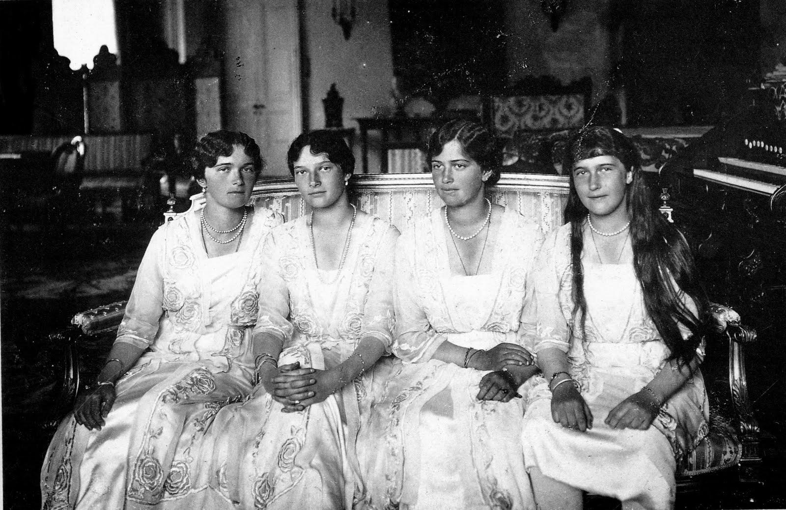 The four Russian princesses, Olga, Tatiana, Maria, and Anastasia, seated together.