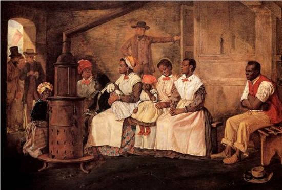 Slaves waiting for sale: Richmond, Virginia, Eyre Crowe, 1861,