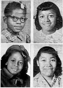 Addie, Denisa, Carole, and Cynthia in school photos