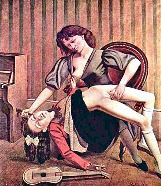 An older woman on a chair, breast exposed, holds a young girl in her lap. The young girl's skirt is up around her waist as the woman pulls her hair and fondles her between her thighs. A guitar lies on the floor in front of them.