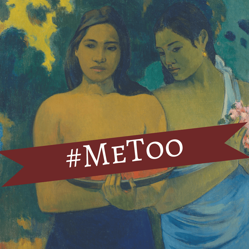 Two Tahitian women stand next to each other, one holding fruit with her breasts exposed on top of the fruit. The other holds flowers and only one of her breasts is exposed. The banner with #MeToo is across their breasts.