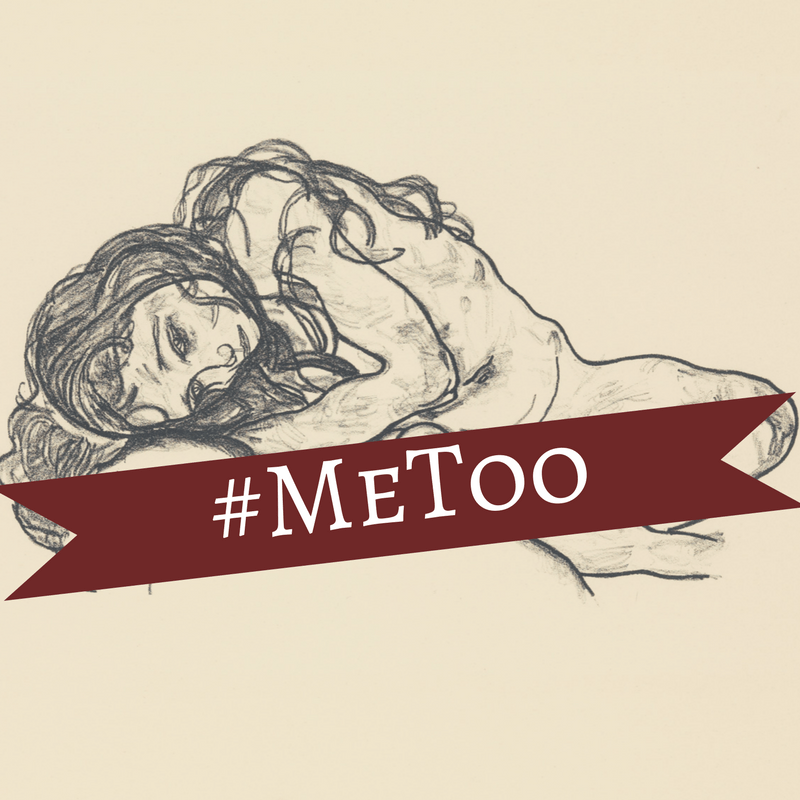 A young girl, naked, is curled up on the floor. A banner with #MeToo is across her naked parts.