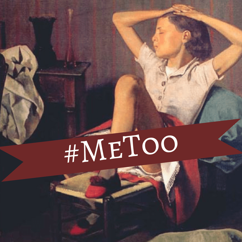Young girl, sitting in a chair, with her leg lifted up to display her underwear. Her eyes are closed and her hands rest on top of her head. Across the skirt is the banner #MeToo