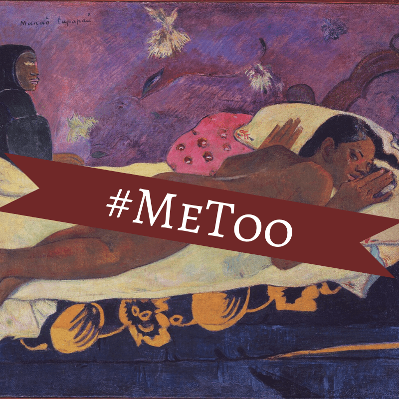 Gauguin painting with #MeToo banner across nude.