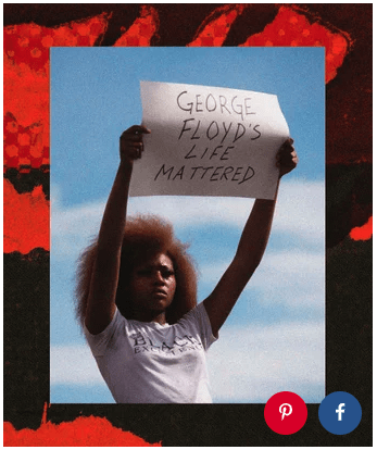 "Black girl holding a sign that says ""George Floyd's Life Mattered"""