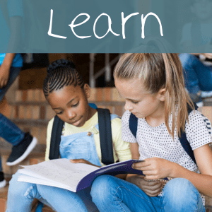 "Text ""Learn"" with picture of two young girls reading together"