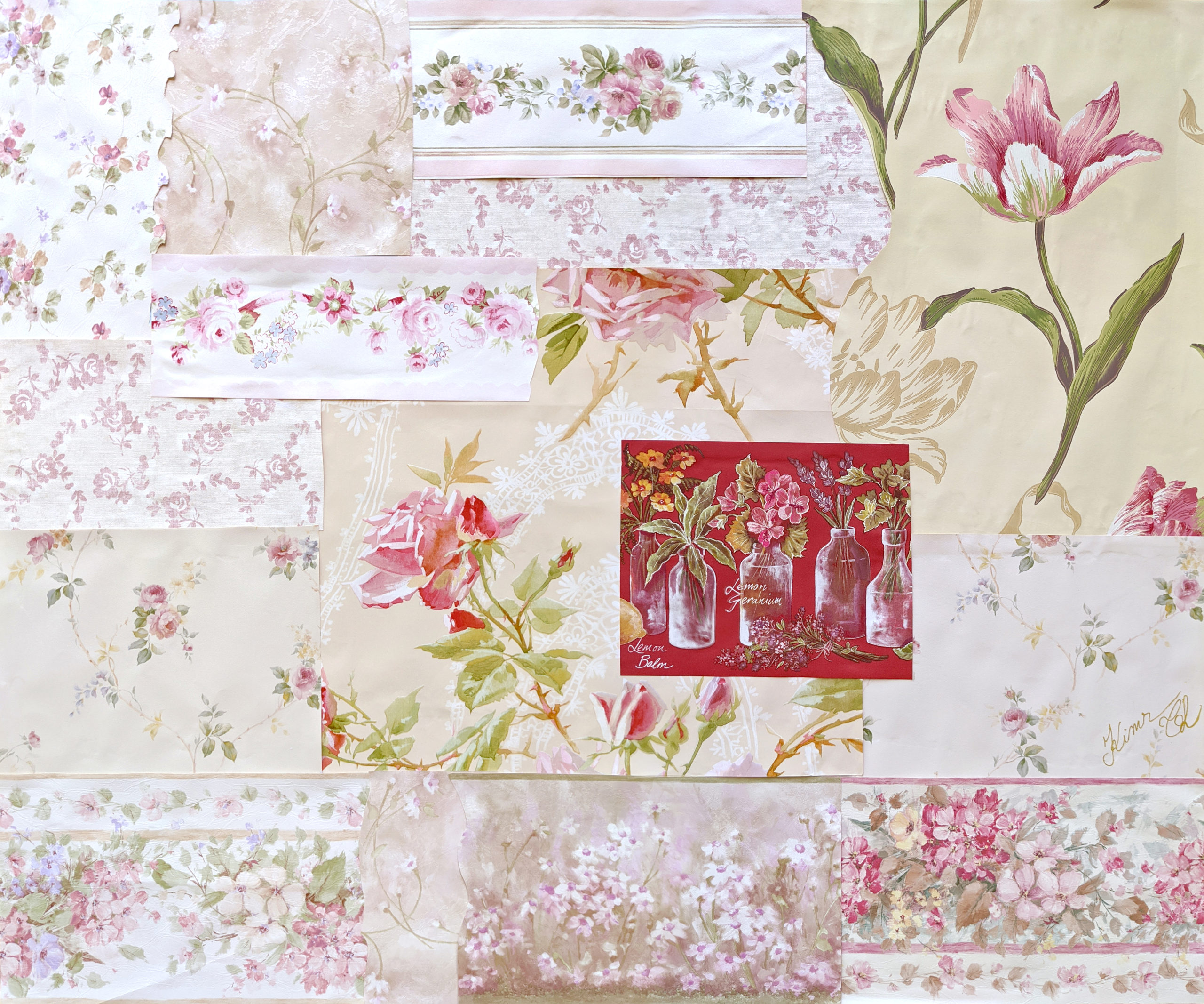 Collage of floral papers in pink, red, and green, with off-center piece of red background with flowers in glass jars