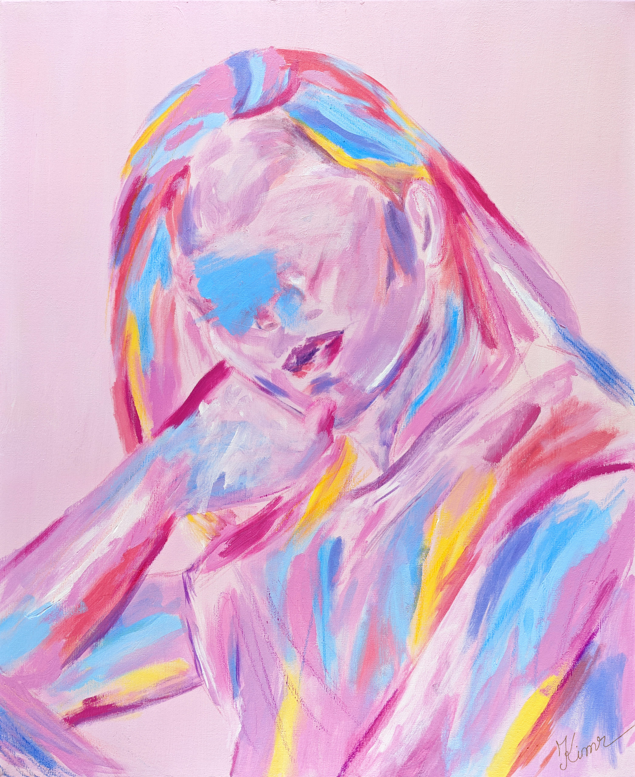 Portrait of girl/woman in pastels, with streaks of blue, yellow, red, and orange on pink background
