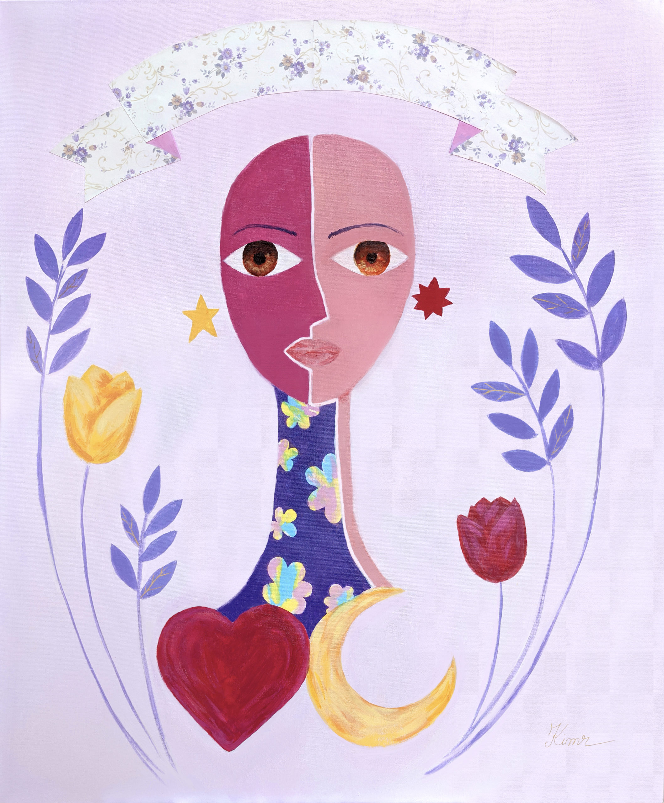 Girl's face and neck, bottom with moon and heart, surrounded by tulips, stars, and leaves