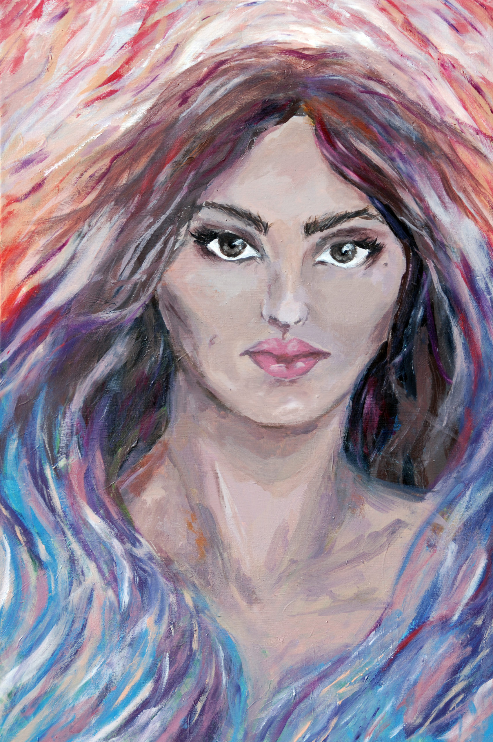 portrait of a woman's face, surrounded by wave-like colors of reds on top and blues/purples on bottom
