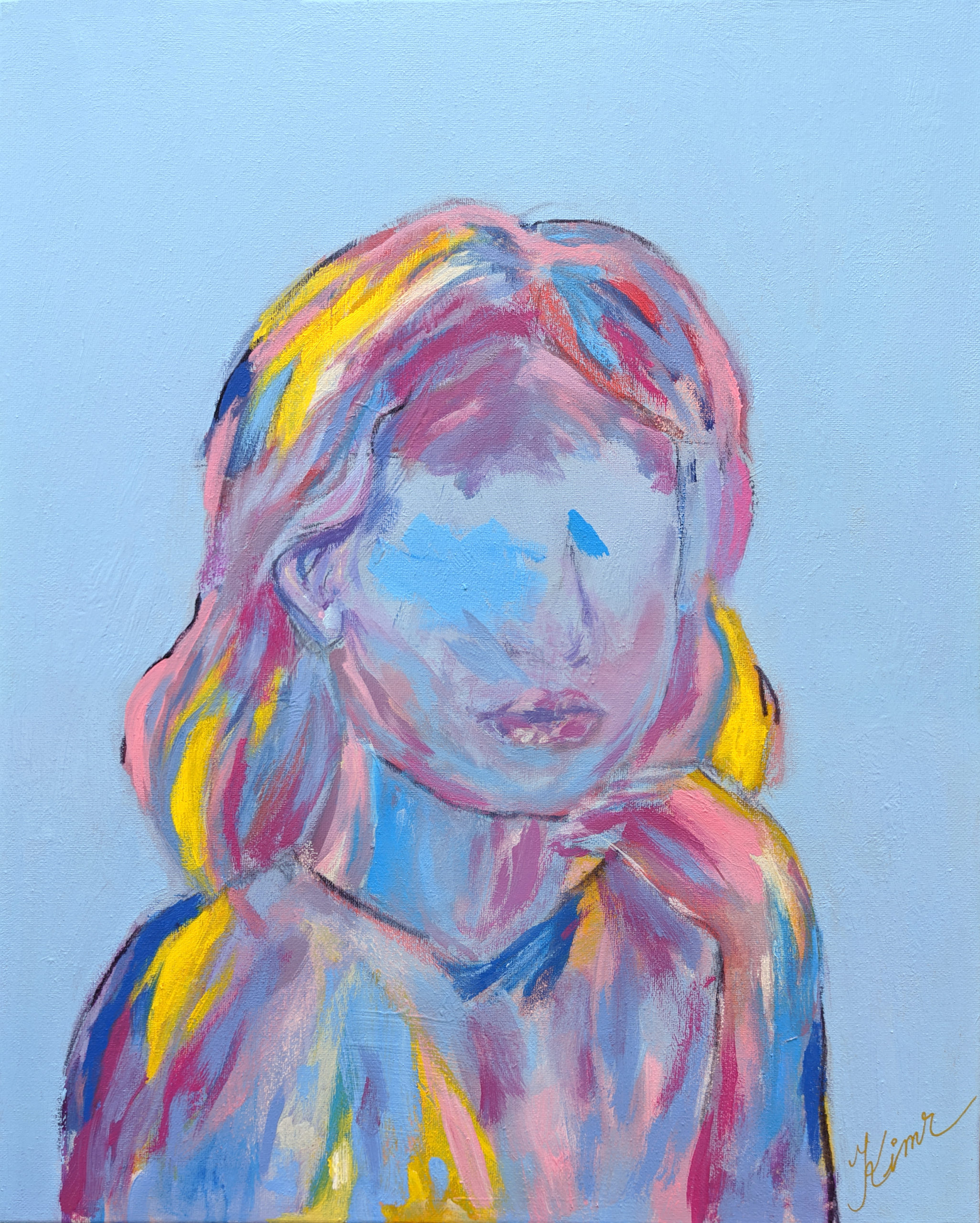 portrait of girl, no eyes, blue background with streaks of yellow, red, pinks, and blues defining her profile