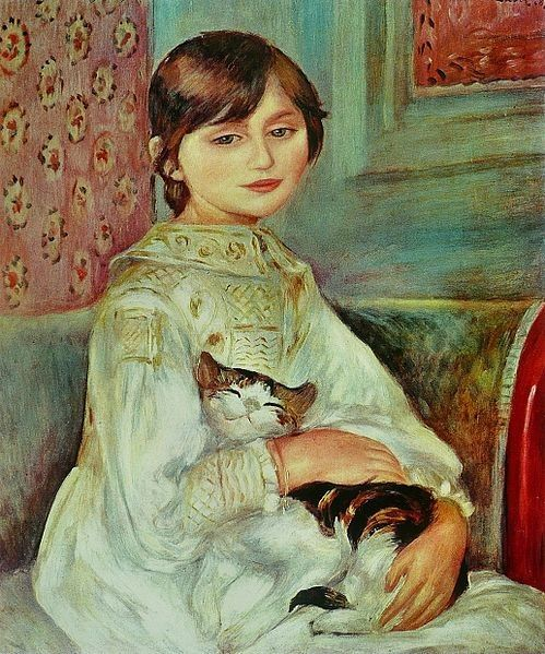 Child with Cat, painting by Pierre August Renoir