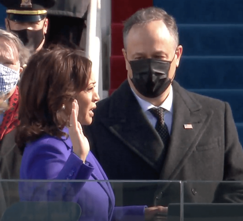 Kamala Harris taking the oath of office for the vice president.