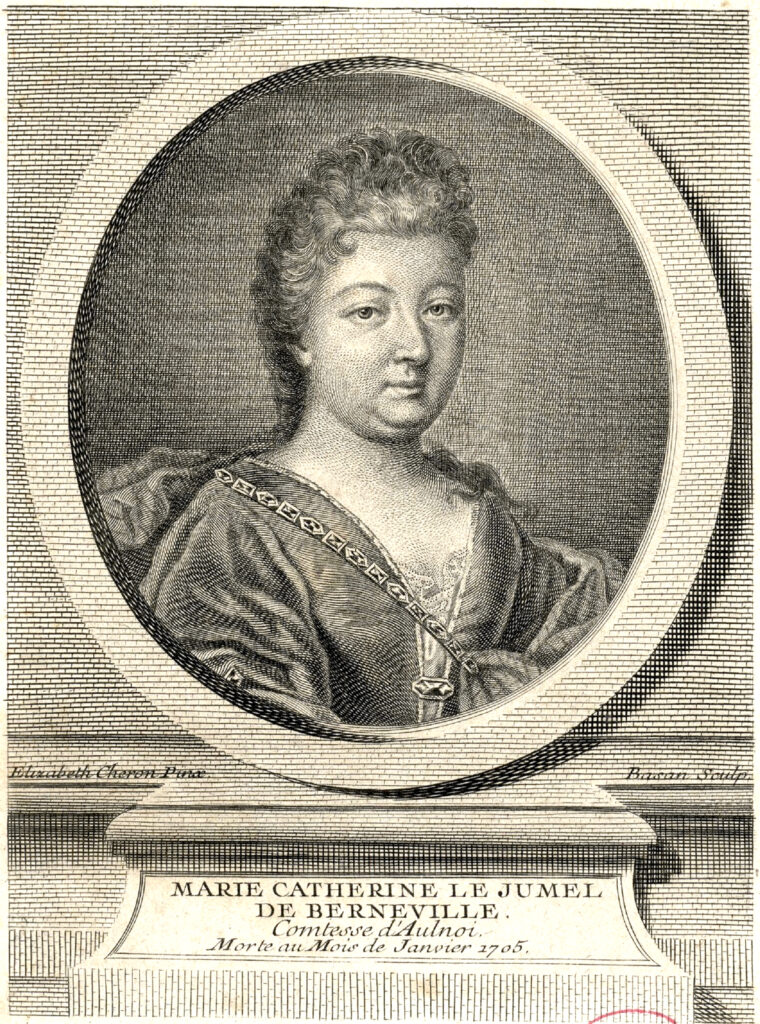 a black and white portrait of Madame d'Aulnoy