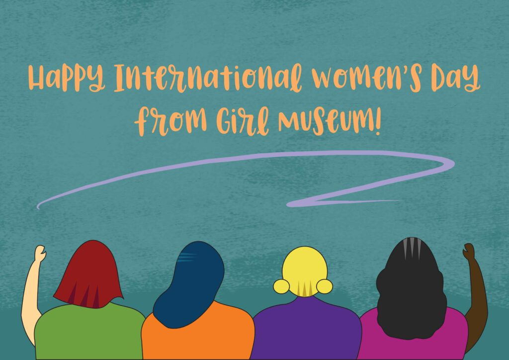 """Teal background with four girl figures of differing colors, with text """"Happy International Women's Day"""""""
