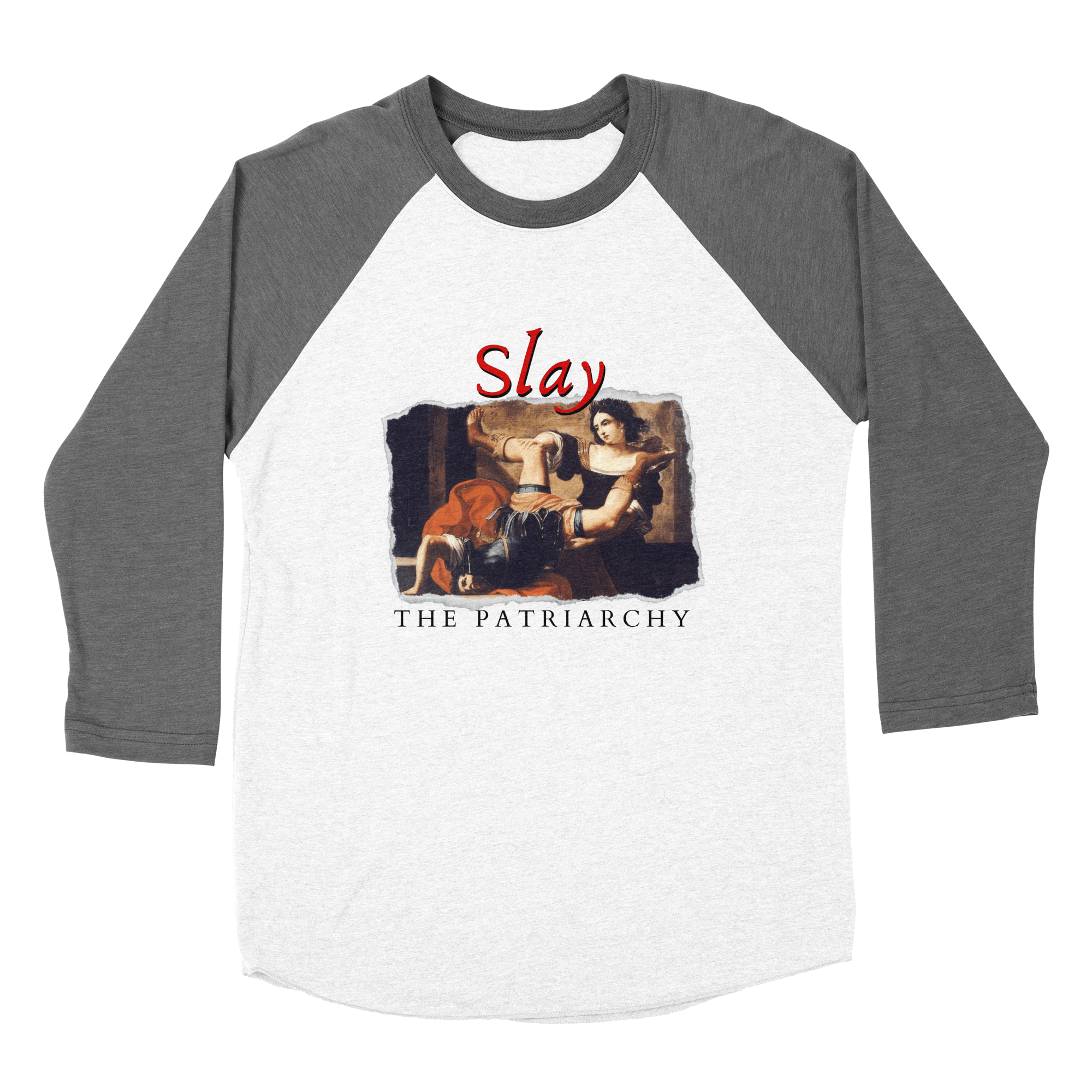 Baseball t-shirt with image of fine art woman slaying man and text Slay the Patriarchy
