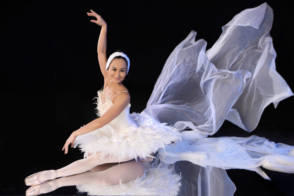 Lisa Macuja Elizalde in full costume as the White Swan
